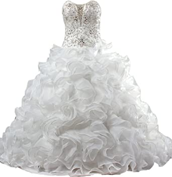 Ants Women S Crystal Corset Ruffle Organza Ball Gown Wedding Dresses For Bride At Amazon Women S Clothing Store