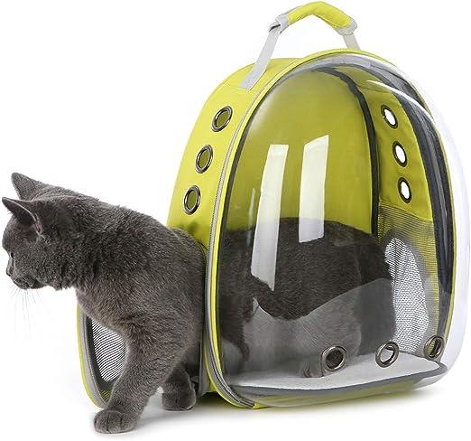 DoubleBlack Portador de Mascotas Mochila Transparente Perros y Gatos Portátiles Bolsa de Transporte al Aire Libre Diseño de Cápsula Transpirable Visitas Guiadas de 180 Grados - Amarillo: Amazon.es: Productos para mascotas