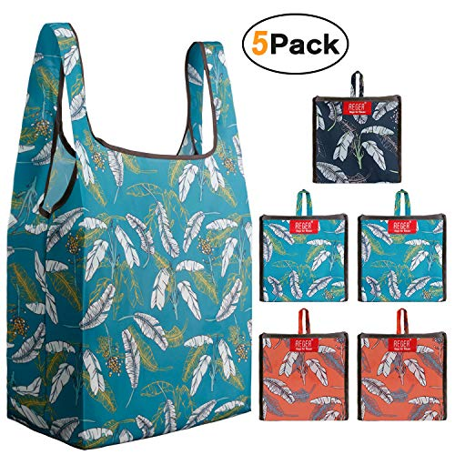REGER 50 LBS Foldable Grocery Shopping Bags Recycle Bags Fit built-in Pouch Totes Bulk Fabric Cloth Bags Gift Bags Lightweight Washable Flat Bottom Roomy Eco T-Shirt shape