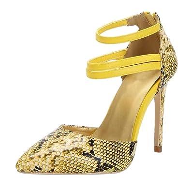 5c8ec5e32a8 Reokoou Women High Heels Fashion Sexy Pointed Toe Snake Skin Pattern ...