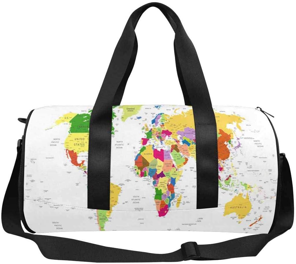 INTERESTPRINT Political World Map Travel Duffel Bag Workout Duffel Bag