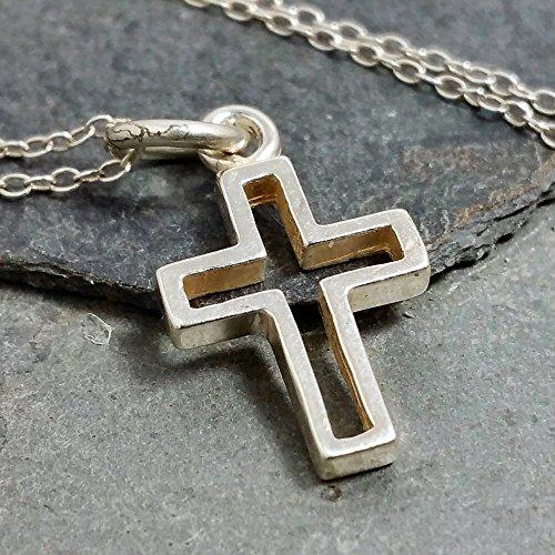 Open Cross Necklace - 925 Sterling Silver Open Christian Cross