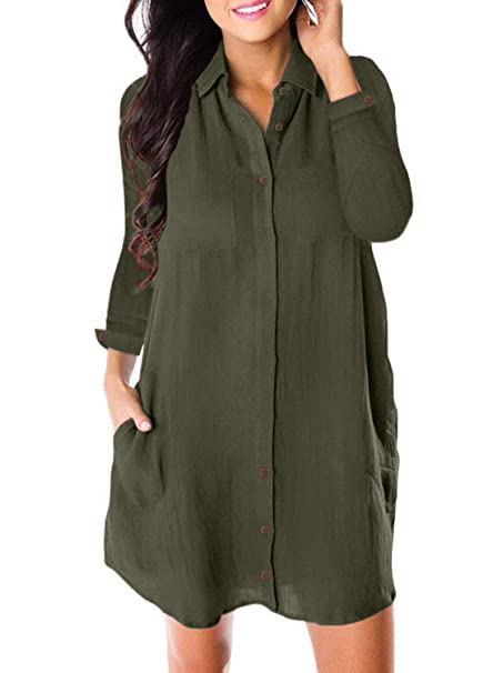 c66fb06e9e Astylish Women s Button Down Plain Long Sleeve Shirt Dress Casual Loose  Vintage Juniors Swing Tunic Dress