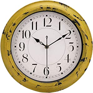 jomparis Yellow Vintage Decorative Wall Clock Silent Non-Ticking Battery Operated Quartz Retro Round Wall Clock - 12 Inch Antique Yellow Rustic Wall Clock