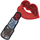 1 Set Sequin Sew Iron on Patch DIY Lipstick & lip Applique Embroidered Craft By Crqes