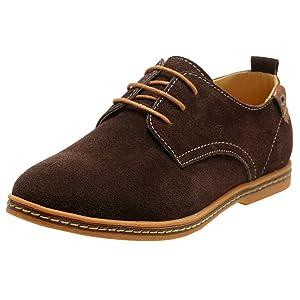4How Men's Cow Suede Oxford Shoes Tan US 10.5 M