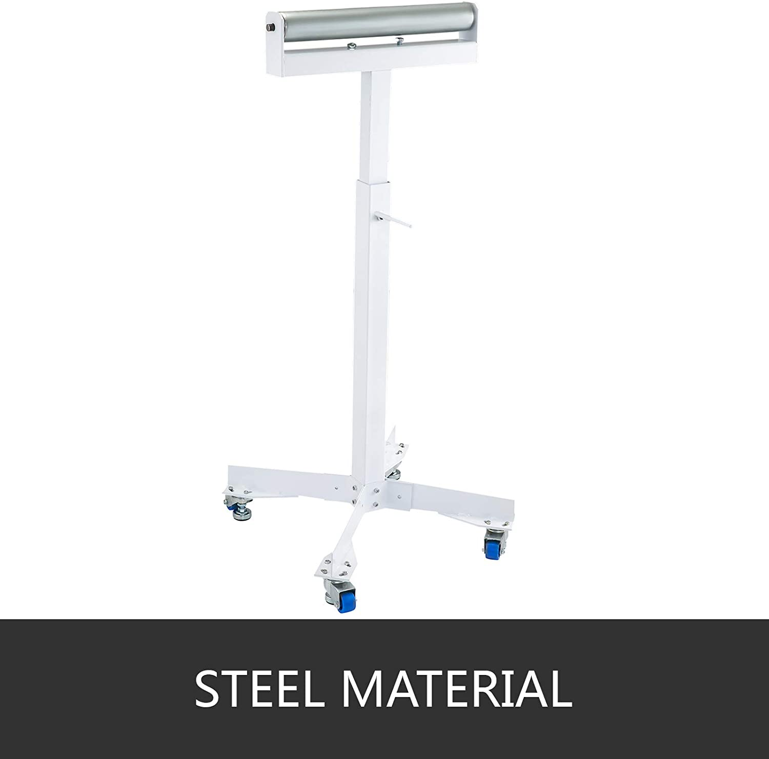 BestEquip 500LBS Capacity White Roller Table Tools Stand Adjustable Bench 28 to 46 Inch Roller Stand with Wedge Lock and Non-Skid Casters
