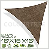 2nd generation sun shade sail - ColourTree 2nd Gen 16' x 16' x 16' Brown Sun Shade Sail Triangle Canopy – UV Resistant Heavy Duty Commercial Grade Outdoor Patio Carport (We Make Custom Size)
