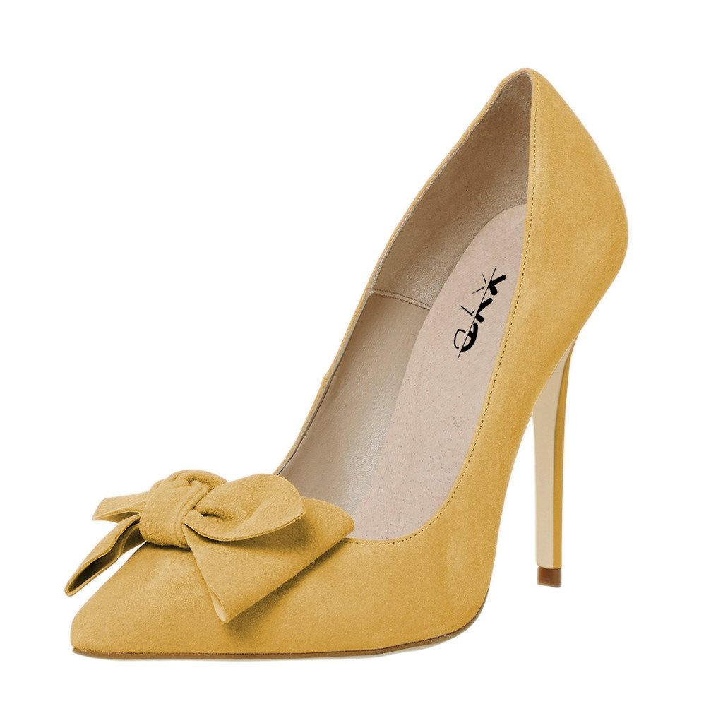 XYD Elegant Pointy Toe Pumps Lovely Bowknot Slip On Shoes Dress Stiletto High Heels for Women B074FT8YJT 15 B(M) US|Yellow