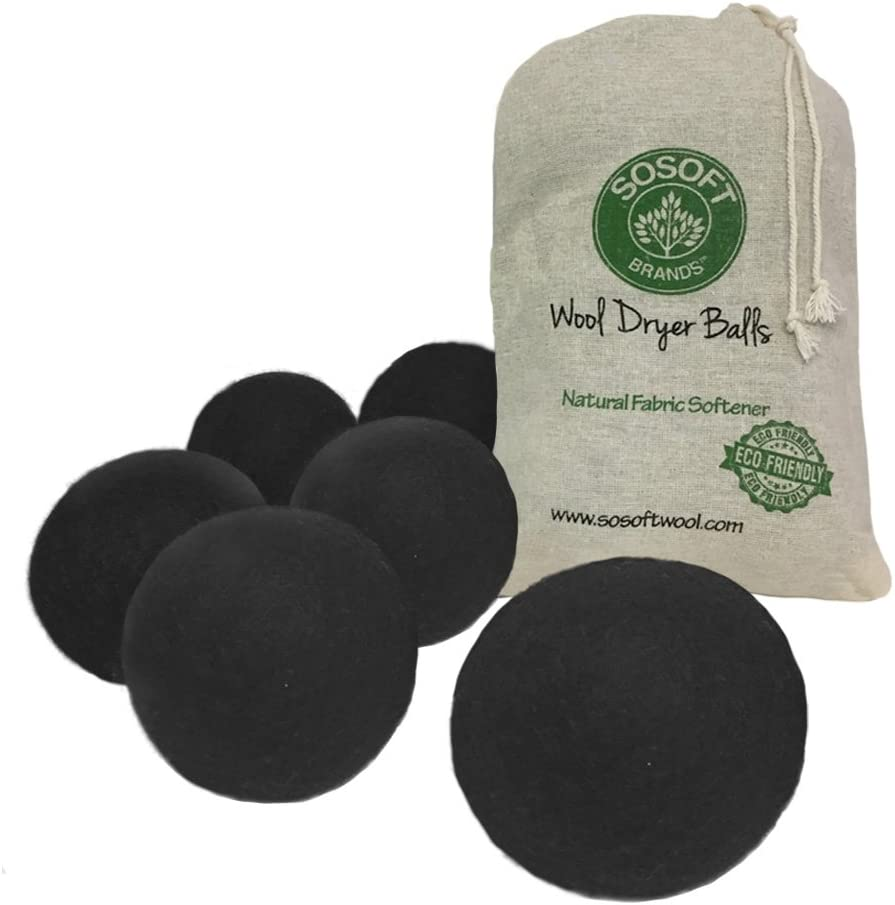 SoSoft Wool Dryer Balls 100% Premium So Soft Wool Dryer Balls XL Hand Made in Nepal All Natural Eco Friendly All Natural Fabric Softener (Black)