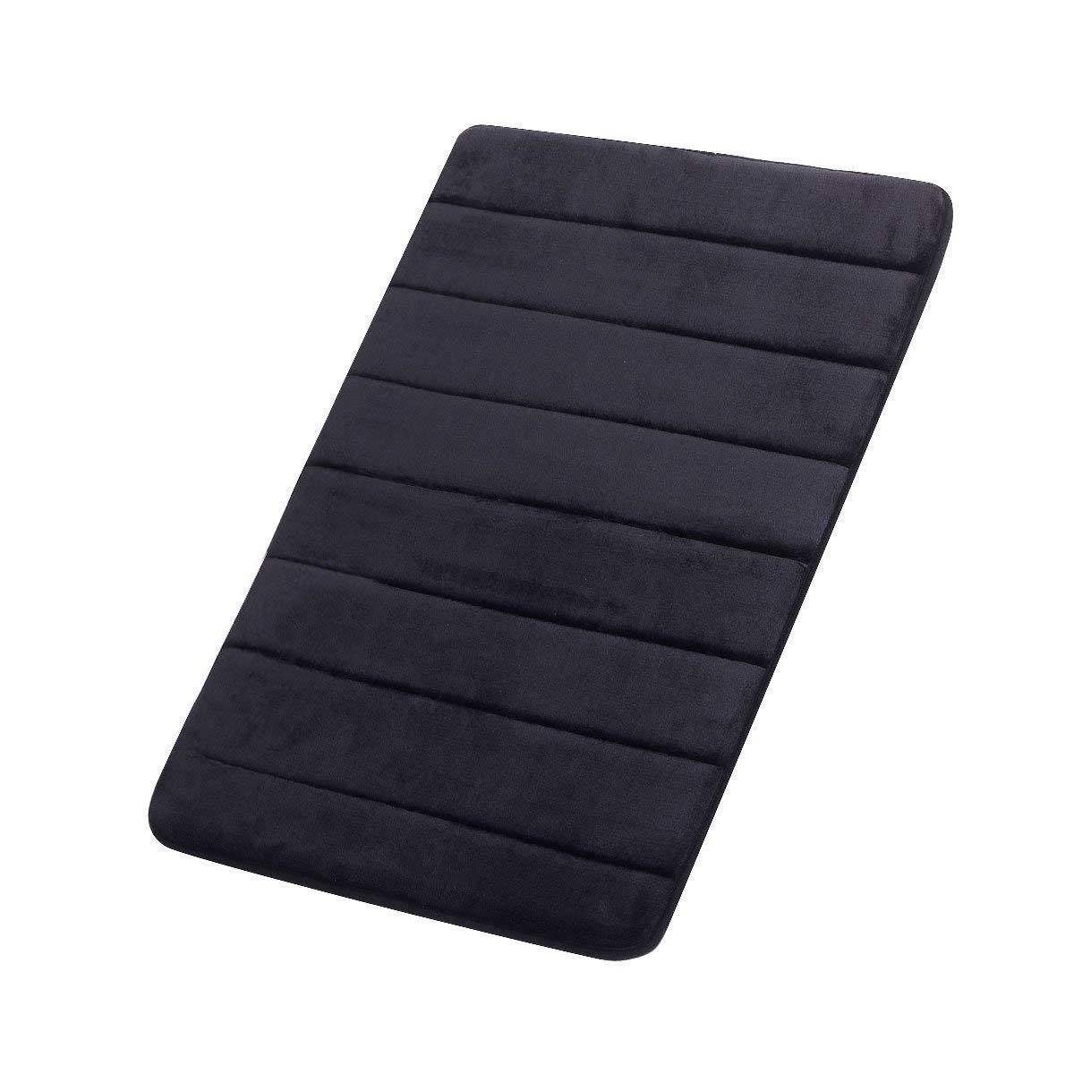 FINDNEW Non-Slip Soft Microfiber Memory Foam Bath Mat,Toilet Bath Rug,with Anti-Skid Bottom Washable Quickly Drying Bathroom mats (20'' X 32'', Black) by FINDNEW