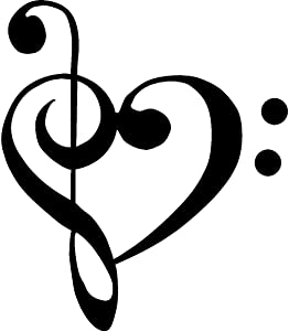 "CMI210 TREBLE BASS CLEF HEART Love of music 4"" BLACK Vinyl Decal Window Sticker for Laptop, Ipad, Window, Wall, Car, Truck, Motorcycle"