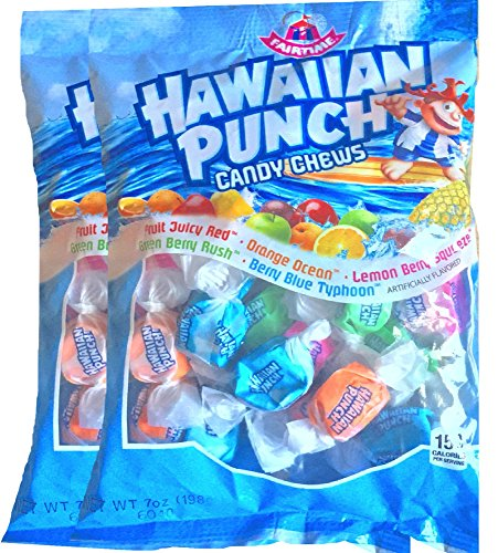 Hawaiian Punch Candy Chews Fruit Candy Perfect Party, Home Candy Snacks Net Wt 7 Oz (2) (Punch Candy)