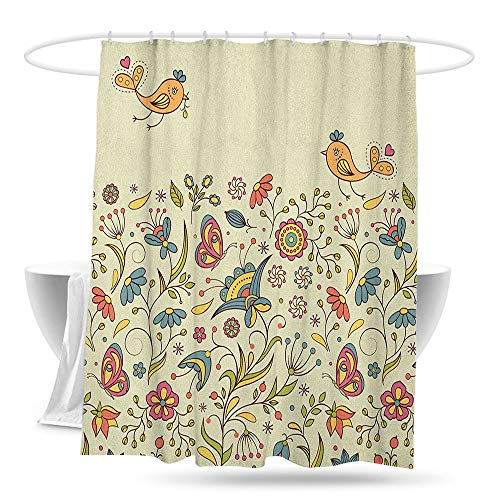 Polyester Fabric Shower Curtain Floral Blooming Colorful Petals of Summer with Butterflies and Flying Birds Flora and Fauna Bathroom Curtain Washable Polyester W70×L70 Multicolor ()