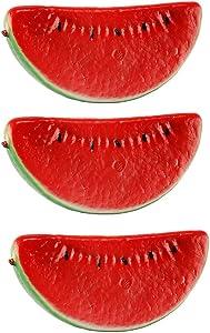 FUMING 3pcs Artificial Lifelike Simulation Watermelon Slice Fake Fruit Decoration Fake Fruit Lifelike Simulation Food Home Party Kitchen Photography Props