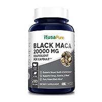Black Maca Root 20000mg 180 Veggie Capsules (Vegetarian, Non-GMO, Gluten Free) Max...
