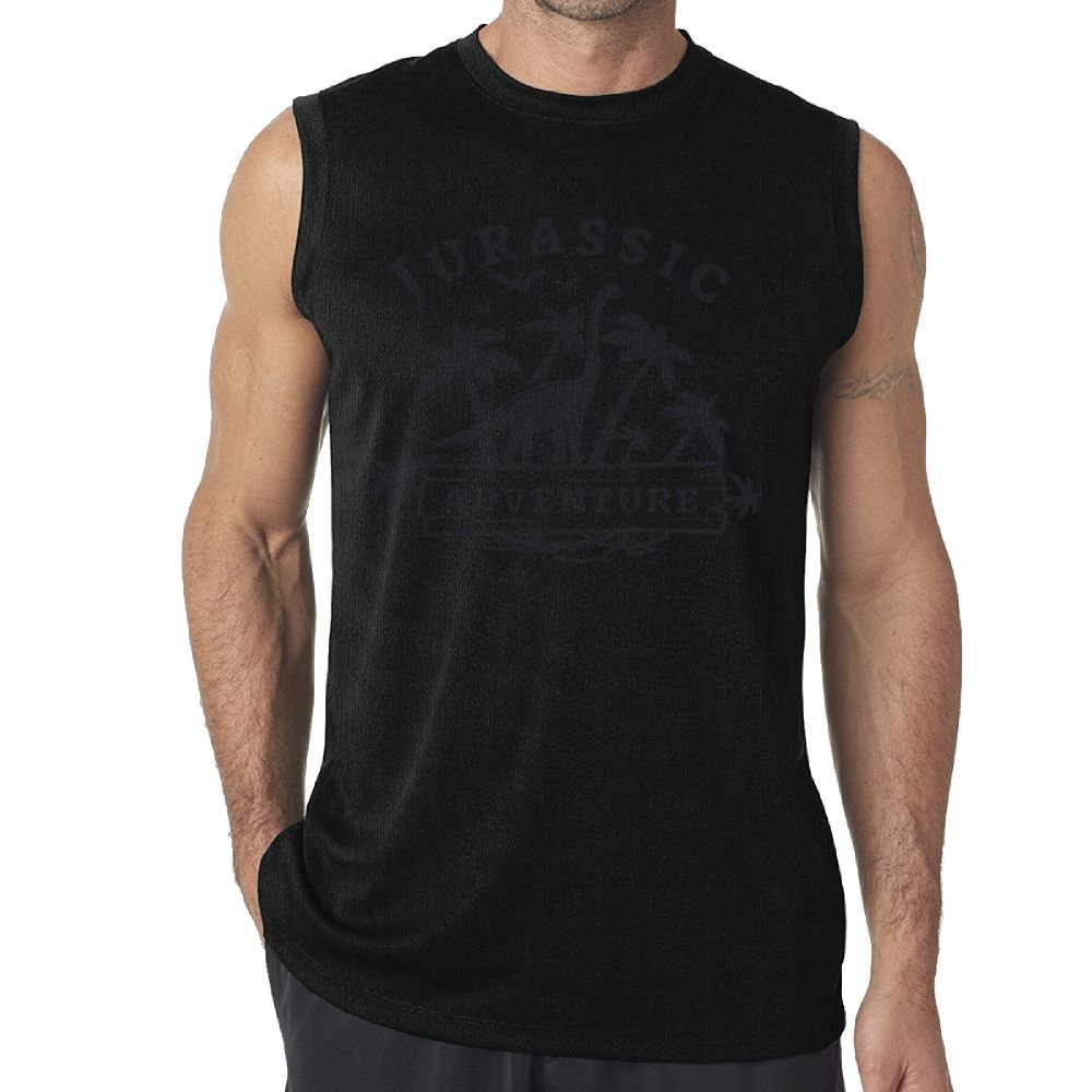 Oopp Jfhg Tank Tops Sleeveless T-Shirts Fit Men Dinosaurs and Palm Trees Cotton