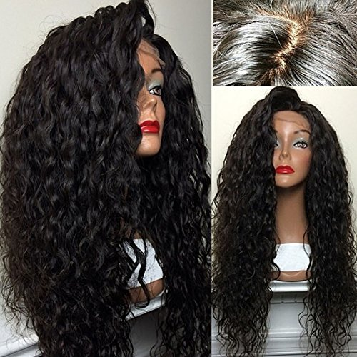 [Hot! PlatinumHair Top Quality Fiber Loose Curly Wigs Synthetic Lace Front Wigs 180% Density Black Color Heat Resistant Synthetic Hair] (Curly Synthetic Hair)