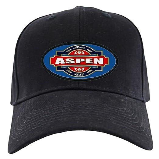 8ecff5cf4b5 Amazon.com  CafePress - Aspen Old Label Black Cap - Baseball Hat ...