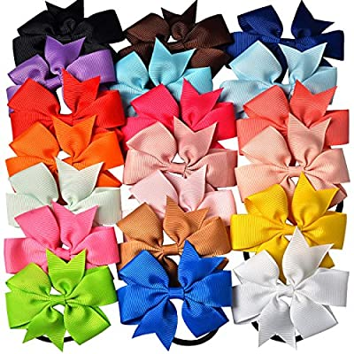 Imanom 20Pcs Hair Bow Ties,Ribbon Boutique Ponytail Holder Elastic Hair Tie For Teens Girls Kids