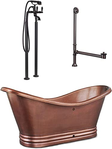 Sinkology TBT-7132OF-RT6 Euclid 6 ft. All-in-One Solid Bathtub Kit with Pfister Faucet and Drain and Overflow in Antique Freestanding Copper Tub