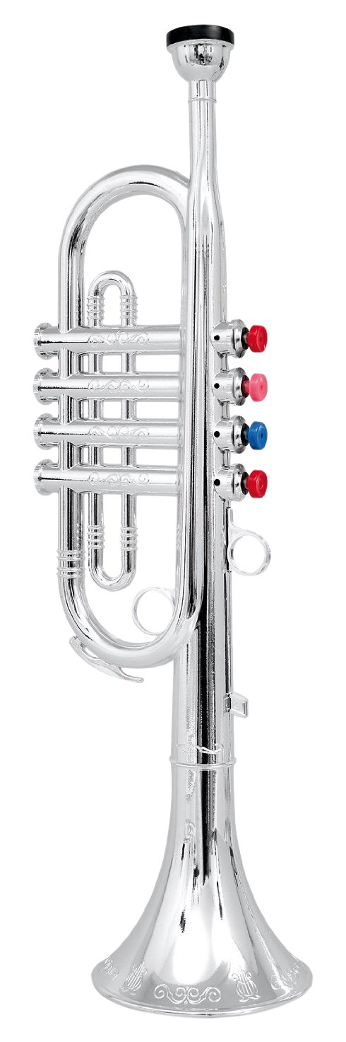 Click n' Play Metallic Silver Kids Trumpet Horn Wind Instrument with 4 Colored Keys by Click N' Play
