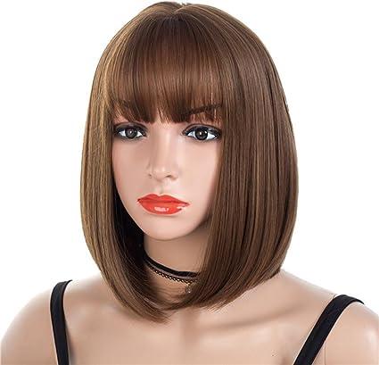 Women Girl Bob Hair Wig Short Straight Bang Full Cosplay Party Brown Blonde Wigs