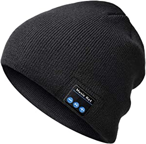 Bluetooth Beanie-Mens Gifts Bluetooth hat with Double Knitted Built-in Stereo Speaker & Mic Unique Birthday Gifts for Men Women Running Cap Fit for Outdoor Sports (Dark Black)