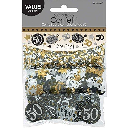 Birthday Confetti 50th (Amscan Party Supplies Sparkling Celebration 50 Confetti (12 Piece), Multi Color)