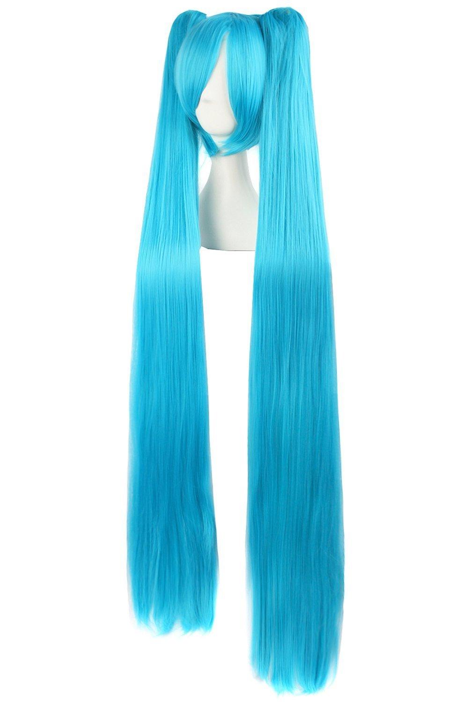 MapofBeauty 47 Pulgada/120cm largo lacio Pelucas de cosplay Pelucas (Cereste Azul)
