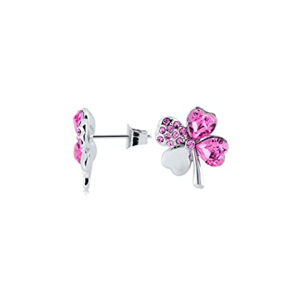 4bc53b2ba UPSERA Four Leaf Clover Earrings for Women Made with Swarovski Crystals  Heart-Shaped Shamrock Jewelry