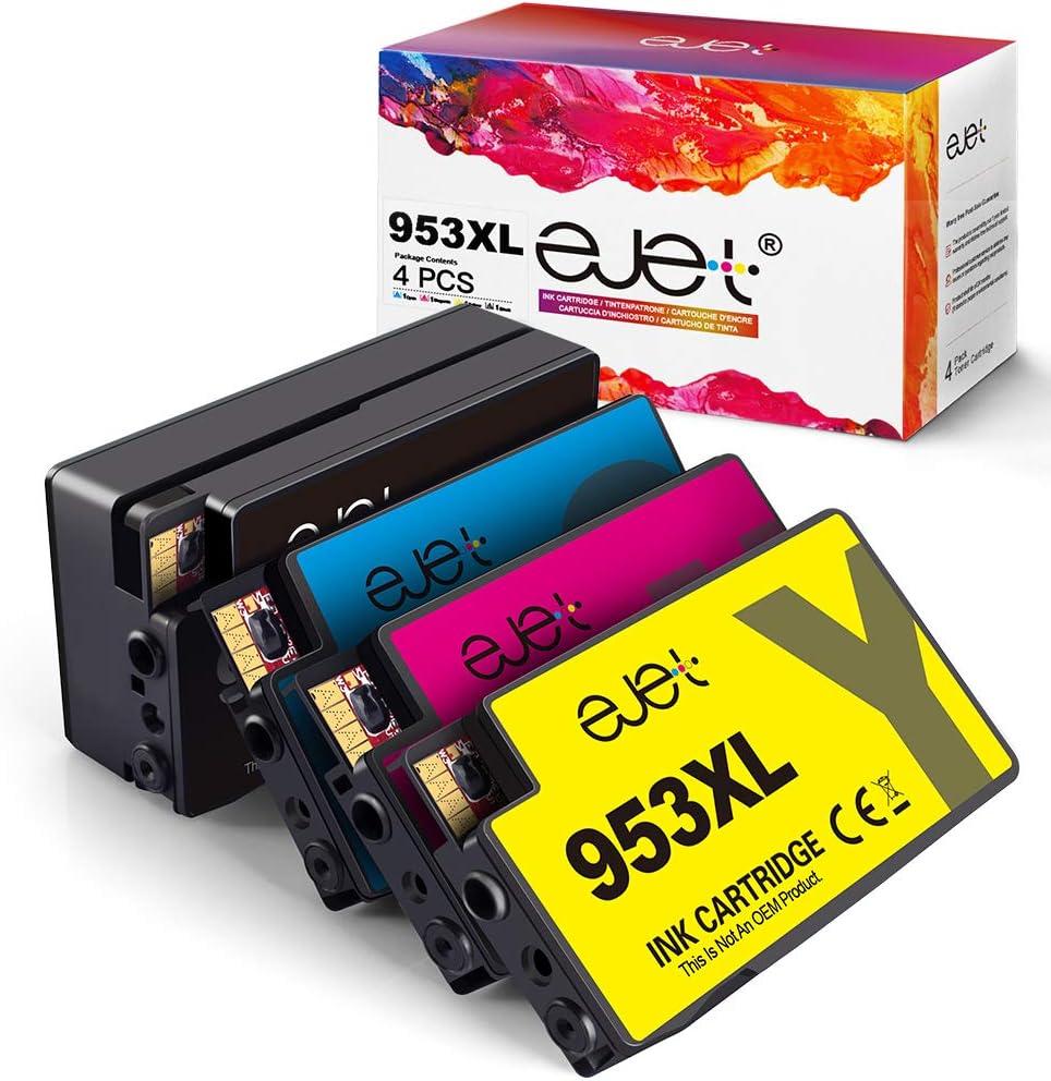 ejet 4 Pack 953XL Cartuchos de Tinta Compatible para HP 953 953XL ...