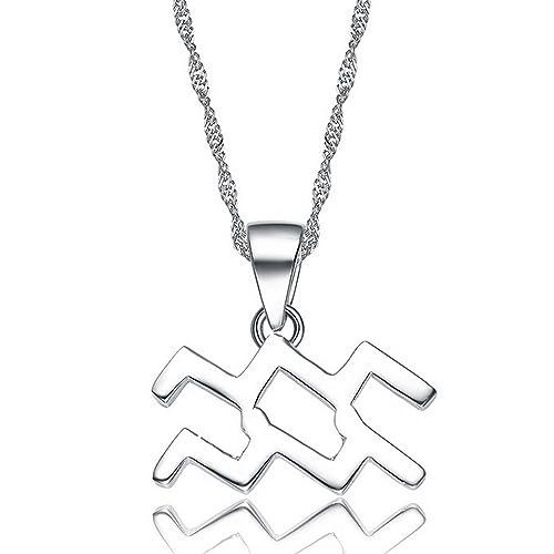 Amazon Aolo Silver Zodiac Signs Aquarius Necklace 157 Jewelry