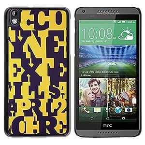 TopCaseStore / la caja del caucho duro de la cubierta de protección de la piel - Letters Yellow Black Pattern Teacher - HTC DESIRE 816