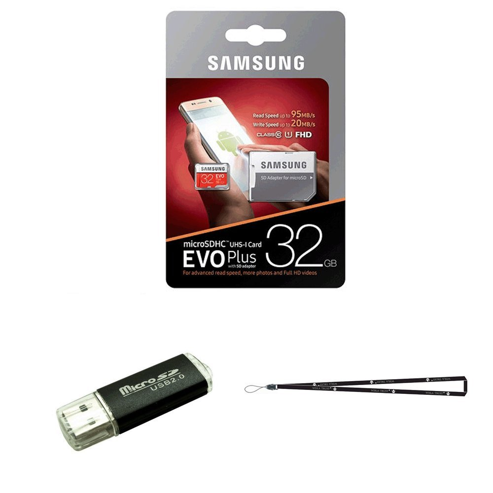 32GB Samsung Evo Plus Micro SD XC Class 10 UHS-1 32G Memory Card for Samsung Galaxy S8, S8+, Note 8, S7 Edge, S5 Active, S4, S3, Cell Phones with TF/SD USB Card reader Wisla TM LANYARD (MB-MC32DA/AM)