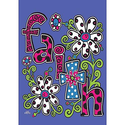 Faith Flowers and Polka Dot Cross 42 x 29 Rectangular Double Applique Large House (Cross House Flag)