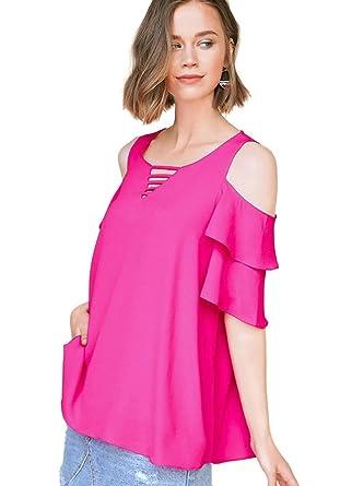 4238bf28b7a1a1 Umgee Women s Bohemian Layered Ruffle Sleeve Open Shoulder Blouse Tunic Top  at Amazon Women s Clothing store