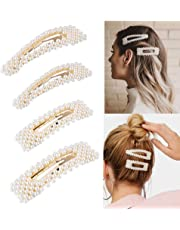 Pearl Hair Clips for Women Girls, Artificial Pearl Hair Barrettes Hair Pins, Bridal Decoration Fashion Hair Accessories Birthday Gifts 4 PCS