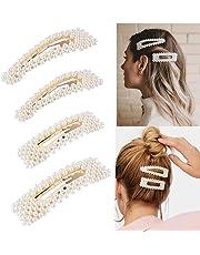 Pearl Hair Clips for Women Girls, Artificial Pearl Hair Barrettes Hair Pins, Bridal Decoration Fashion Hair Accessories Birthday Gifts 4 PCS