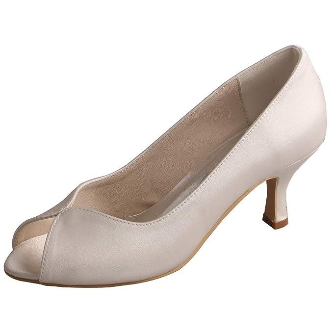 SERAPH MW380 Donne peep toe nuziale pompe medio tacchi alti scarpe da sposa  in raso avorio  Amazon.it  Abbigliamento 02c314620f3