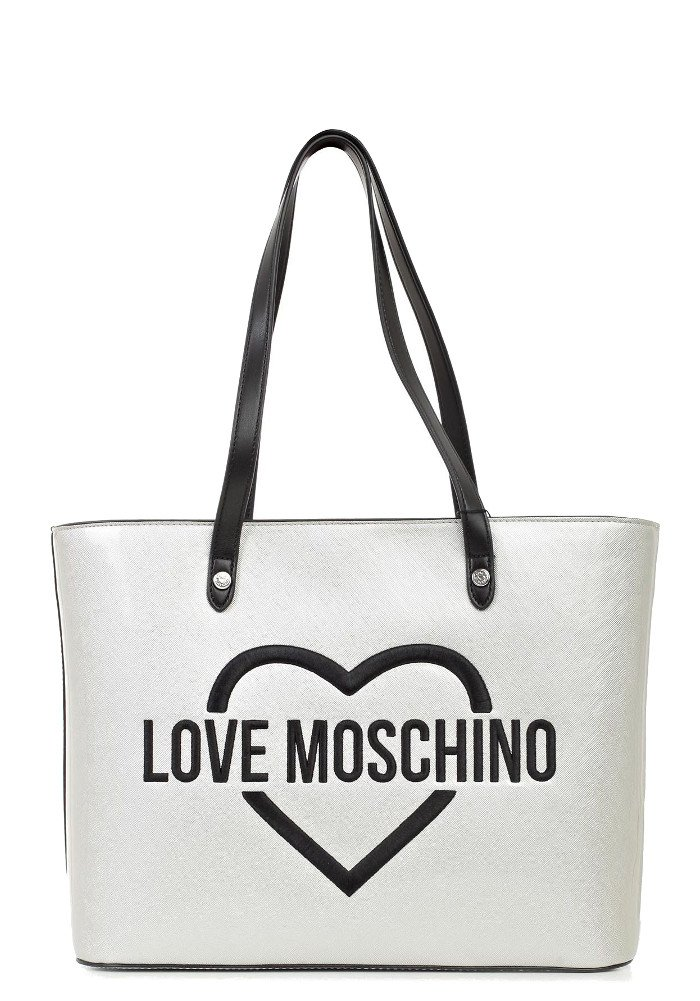 LOVE MOSCHINO embroidered HEARTS logo tote bag, Silver