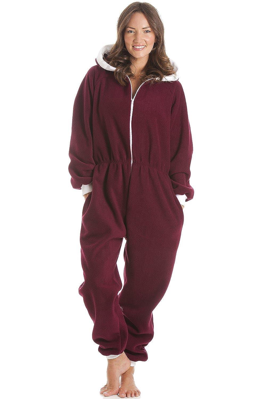 Camille Womens Nightwear Soft Fleece Hooded Burgundy Onesie