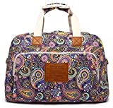 Malirona Canvas Overnight Bag Women Weekender Bag Carry On Travel Duffel Bag Floral (Purple Flower)