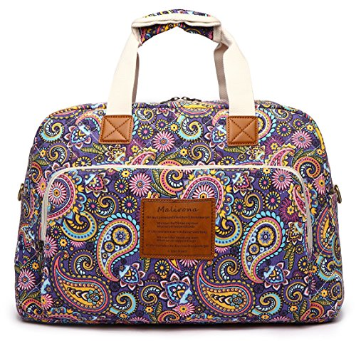 Malirona Canvas Overnight Bag Women Weekender Bag Carry On Travel Duffel Bag Floral (Purple Flower) by Malirona