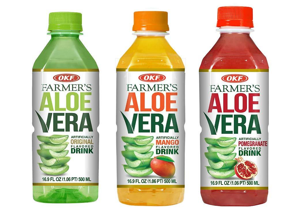 OKF Farmer's Aloe Vera Drink, Original, Mango and Pomegranate, 16.9 Fluid Ounce (Pack of 20 each)