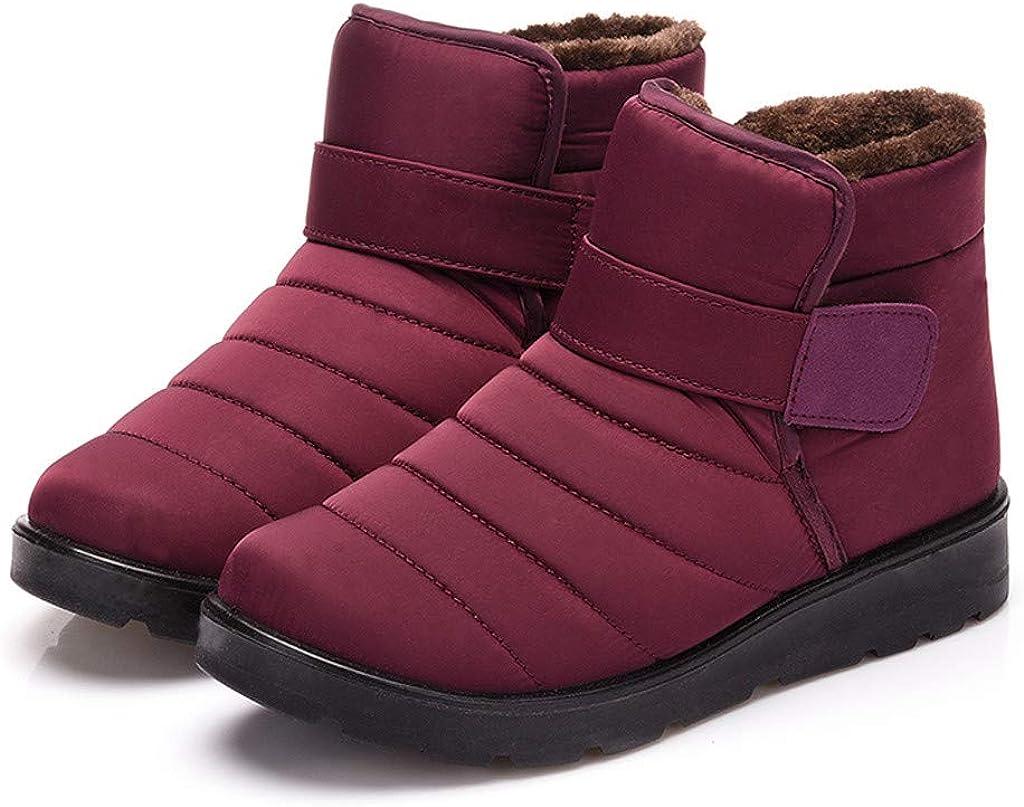 cobcob Womens Outdoor Boots,Ladies Waterproof Snow Booties Fur Lined Winter Warm Slip on Short Ankle Booties Sneakers Shoes
