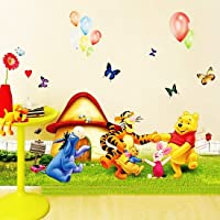 Golden Cart Cartoon Animals Party Around Mushroom House Wall Sticker for Kids Bedroom and Play Room