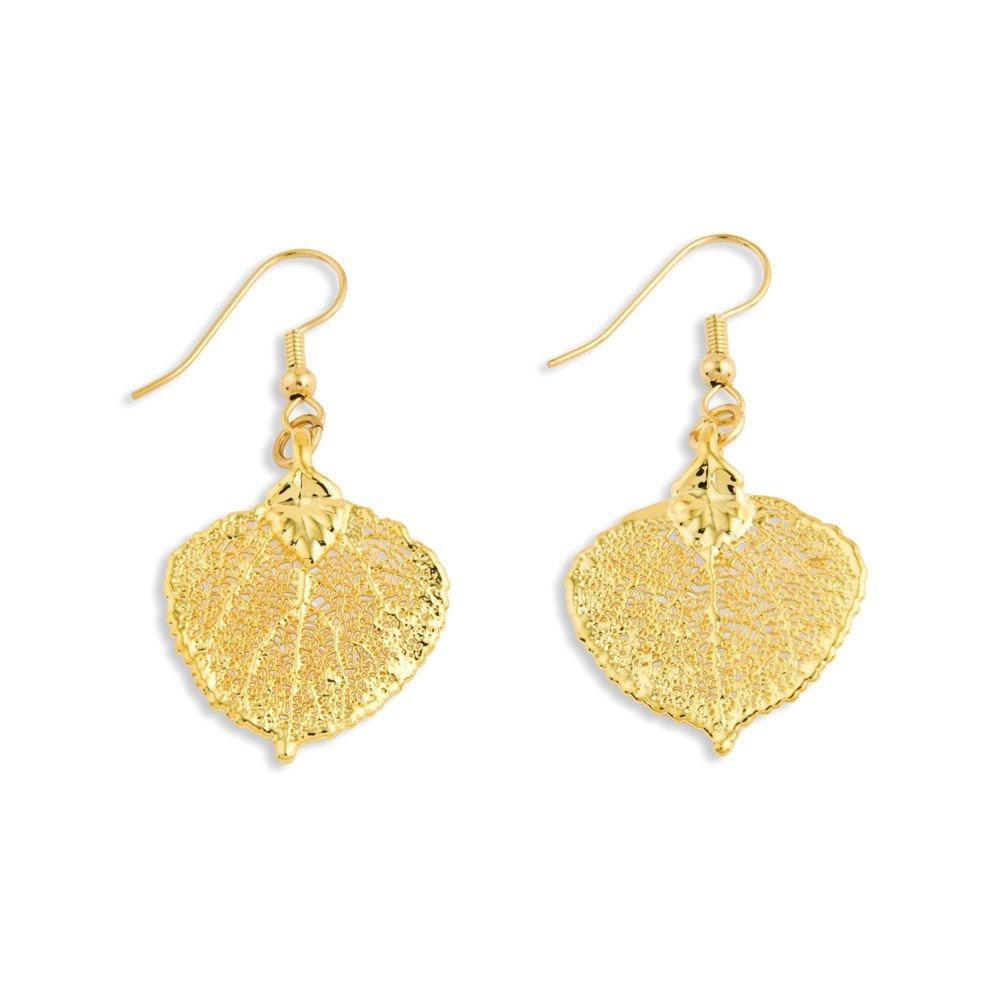 Top 10 Jewelry Gift 24k Gold Dipped Aspen Leaf Dangle Earrings