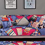 AFAHXX Non-Slip Decorative Couch Covers,Jacquard Thicken Quilted Cotton Slipcover Peninsula L Furniture Protection Cover Sofa Cover-B 110x210cm(43x83inch)