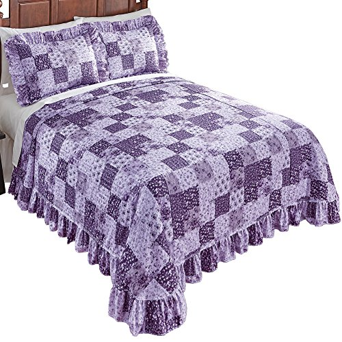 Collections Etc Country Wildflower Plisse Crinkled Patchwork Bedspread with Ruffled Edges - Floral Bedroom Decor for Home, Lavender, Full ()
